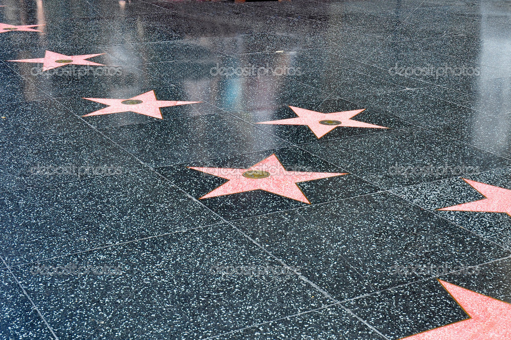 Stars in the sidewalk along the Hollywood walk of fame stock vector
