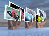 reklamní panely v rukou