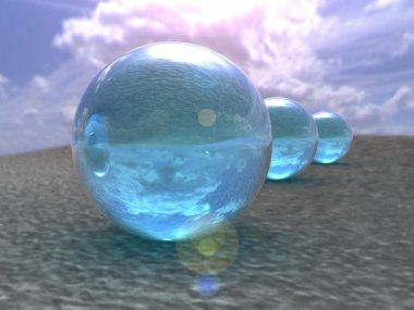 Blue bubbles against a blue sky