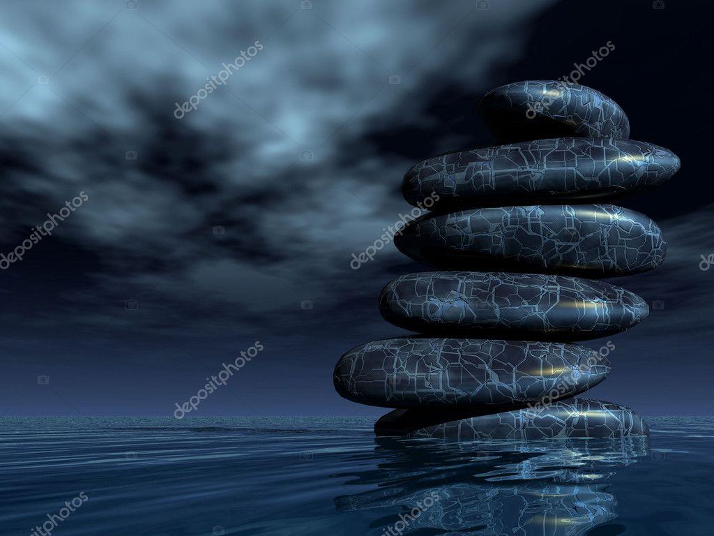 Pile of black Zen stones
