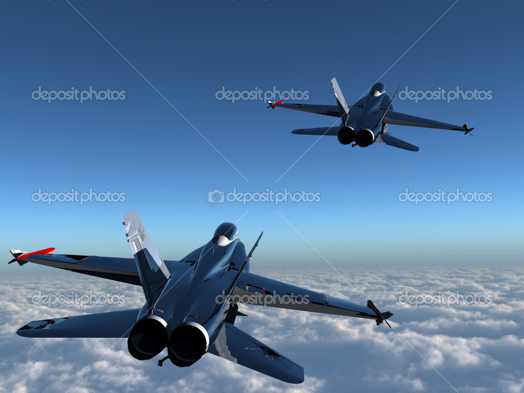 Two bombers in blue sky