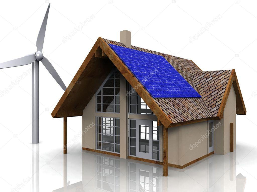 rendu conceptuel nerg tique d 39 une maison avec une olienne et panneaux solaires photographie. Black Bedroom Furniture Sets. Home Design Ideas
