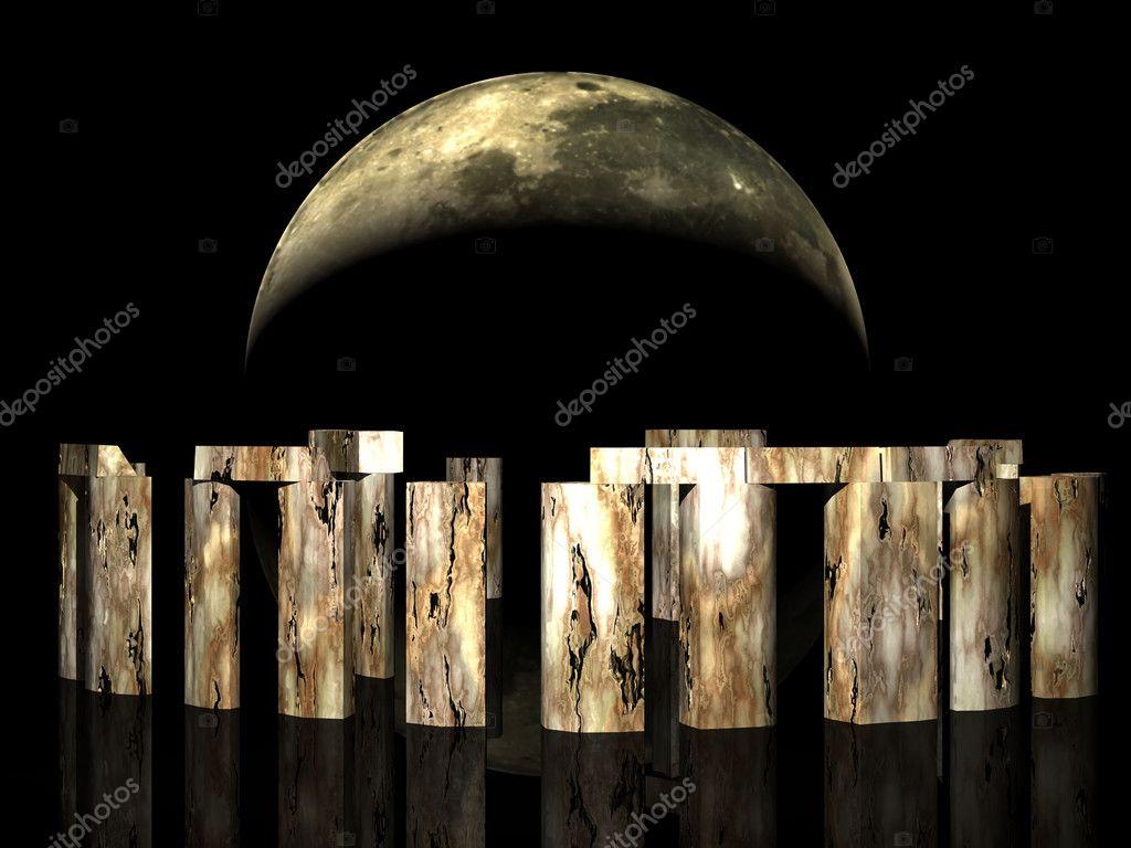 3D Stonehenge under moonlight