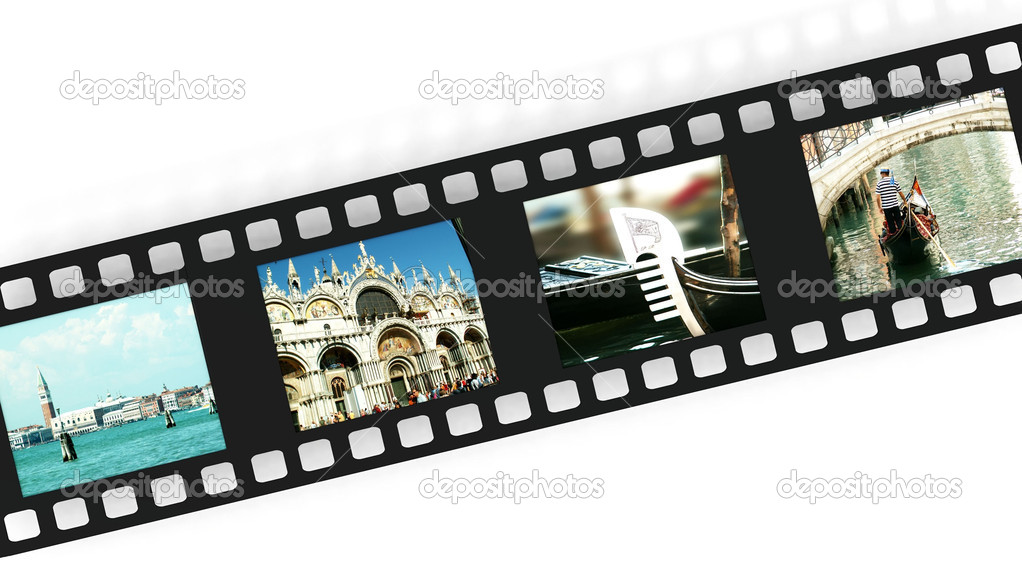 A film strip with pictures