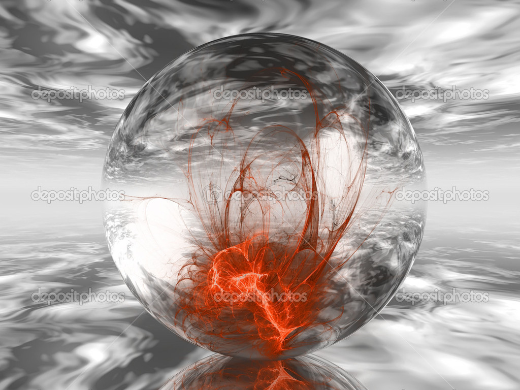 A transparent ball containing shapes