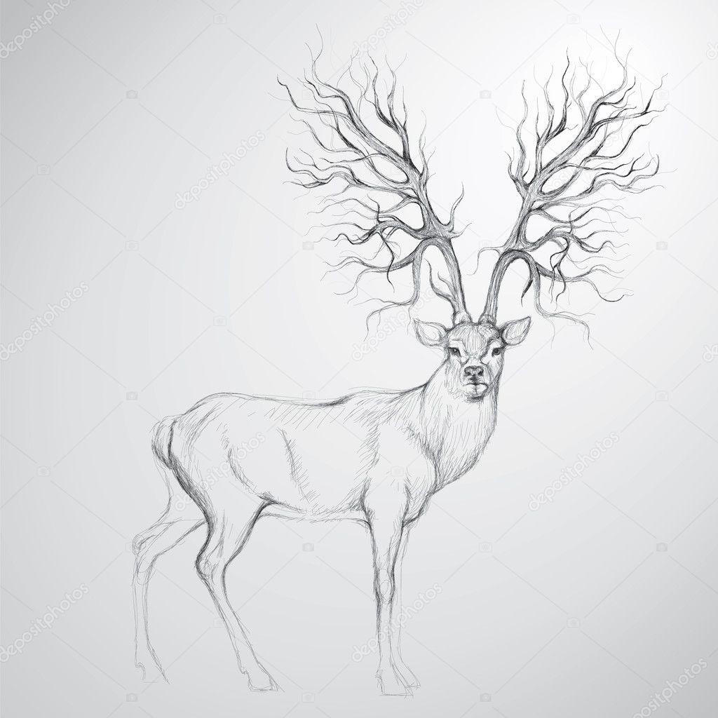 Deer with Antler like tree