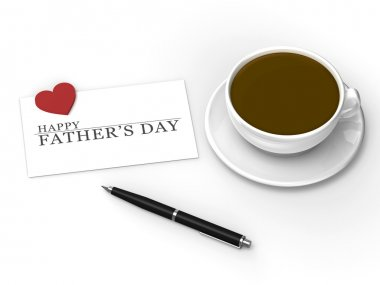 Happy Father's Day message with pen and coffee