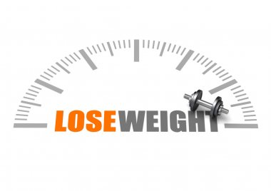 Lose weight text with dumbbell and weight scale