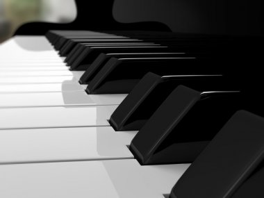 Grand piano keys, music