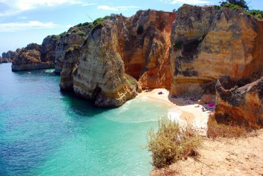 Cliffs at the Dona Ana beach, Algarve coast in Portugal
