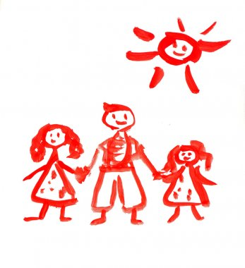 Children's drawing paints on which are drawn a family