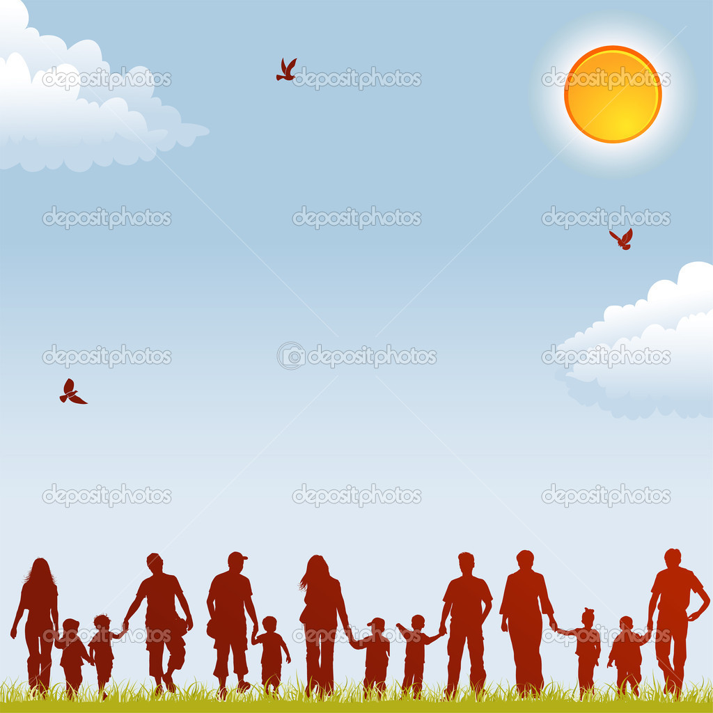 Family Silhouettes Vector Graphics