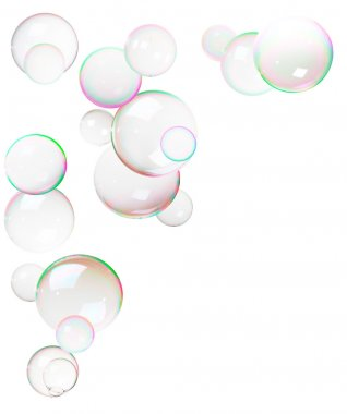 Colorful bubbles made from soap