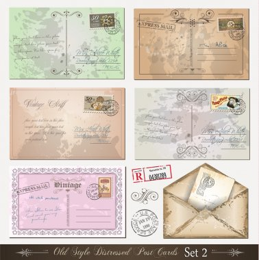 Old style distressed postcards (set 2)