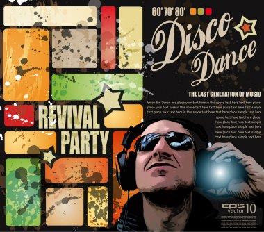 Retro' revival disco party flyer