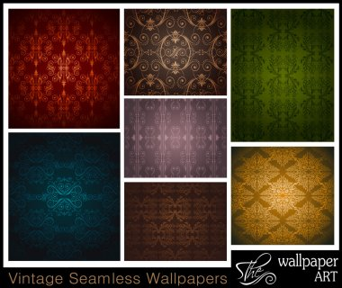 Stilish Set of 7 seamless vintage wallpapers stock vector
