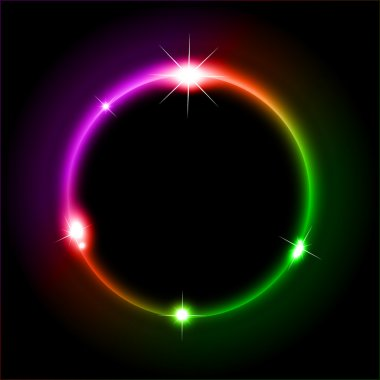 Glowing Circles of llight with Raibow Colours Background