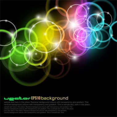 Vibrabt Glow Circles with rainbow Colours stock vector