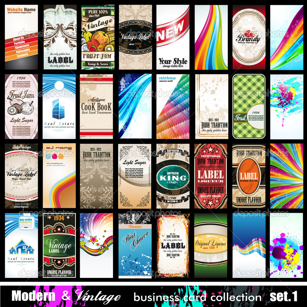 Modern & Vintage Business Card Collection - Set 1 — Stock Vector ...