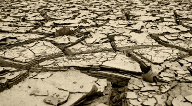 Dried mud and river silt following huge floods Queensland