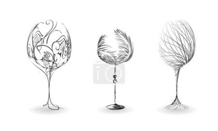 Illustration pour Set verre à vin stylisé avec motif floral. Croquis créatif - image libre de droit