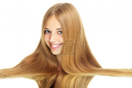 Girl with beauty long hair isolated on white