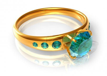 Photo for Golden ring with emeralds - Royalty Free Image