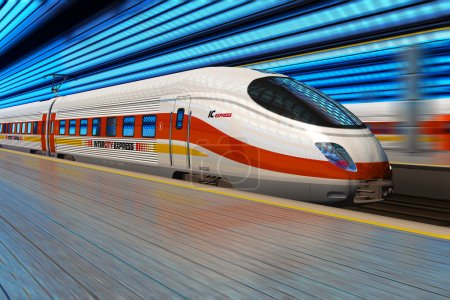 Photo for Modern high speed train departs from railway station with motion blur effect - Royalty Free Image