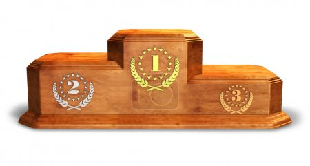 Wooden pedestal for trophies isolated on white bac...
