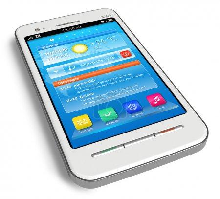 White touchscreen smartphone