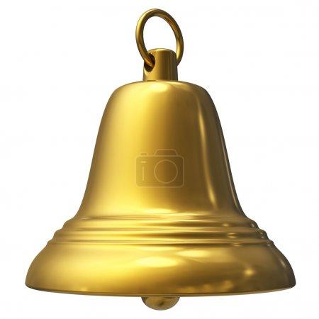 Golden Christmas bell isolated on white