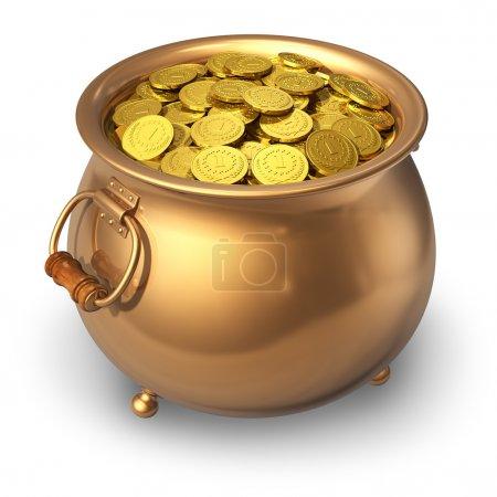 Photo pour Pot plein de pièces d'or isolé sur fond blanc - image libre de droit