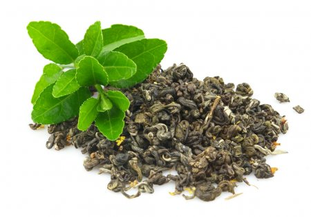 Dry tea with young branches on a white background...