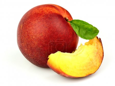 Photo for Juicy peach with slices - Royalty Free Image