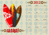 European Aloha vector calendar 2012 with surf boards starting from Mondays