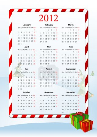 Vector illustration of European calendar 2012
