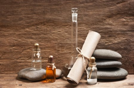 Photo for Vials of perfume oils in old fragrance lab - Royalty Free Image