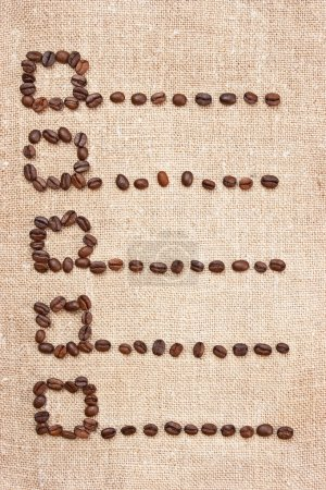 Price- list from coffee beans on the canvas