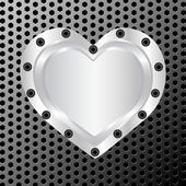 Vector illustration of a silver heart on metal background