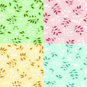 Vector illustration of a set of a grunge seamless leaves backgro