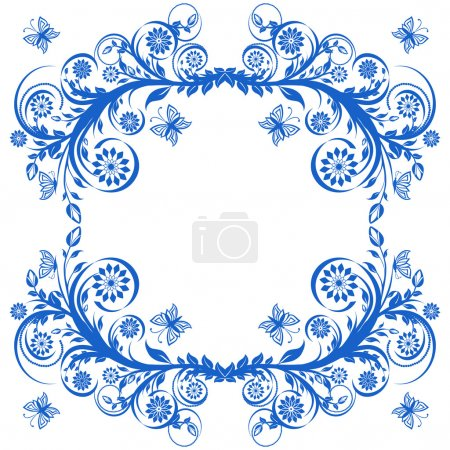 Illustration for Vector illustration of a blue floral frame with butterflies. - Royalty Free Image