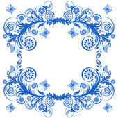 Vector illustration of a blue floral frame with butterflies