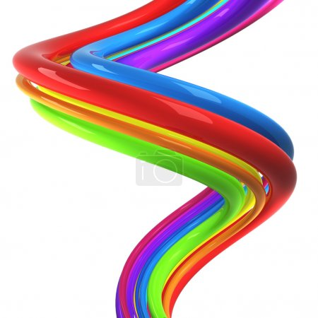 Colorful cables over white background