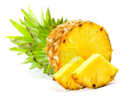 Photo for Fresh slice pineapple isolated over white background. - Royalty Free Image
