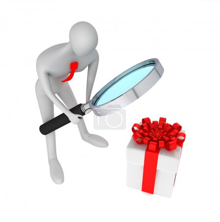 3d person searching a present
