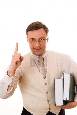 Businessman with a book on white background