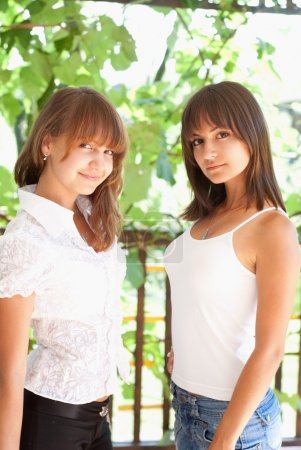 Photo for Beautiful sisters are in a summer park - Royalty Free Image