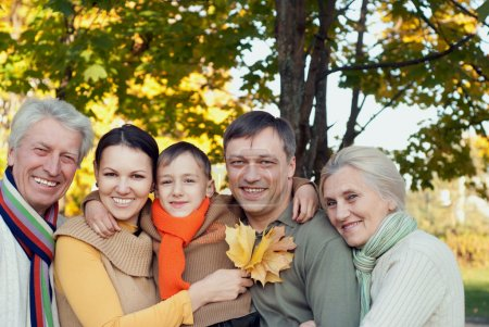 Photo pour Grande famille joue dans le parc d'automne - image libre de droit