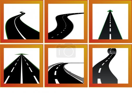 Photo pour Icônes avec des images abstraites des routes et des marquages routiers - image libre de droit