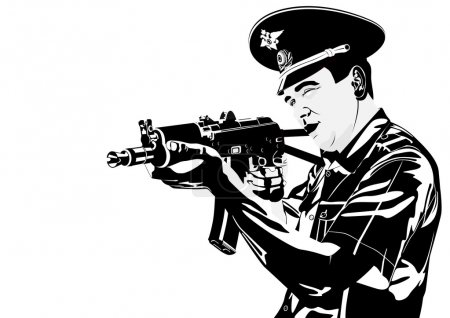 Illustration for The illustration on military issues. A man in uniform ready to fire from automatic weapons - Royalty Free Image